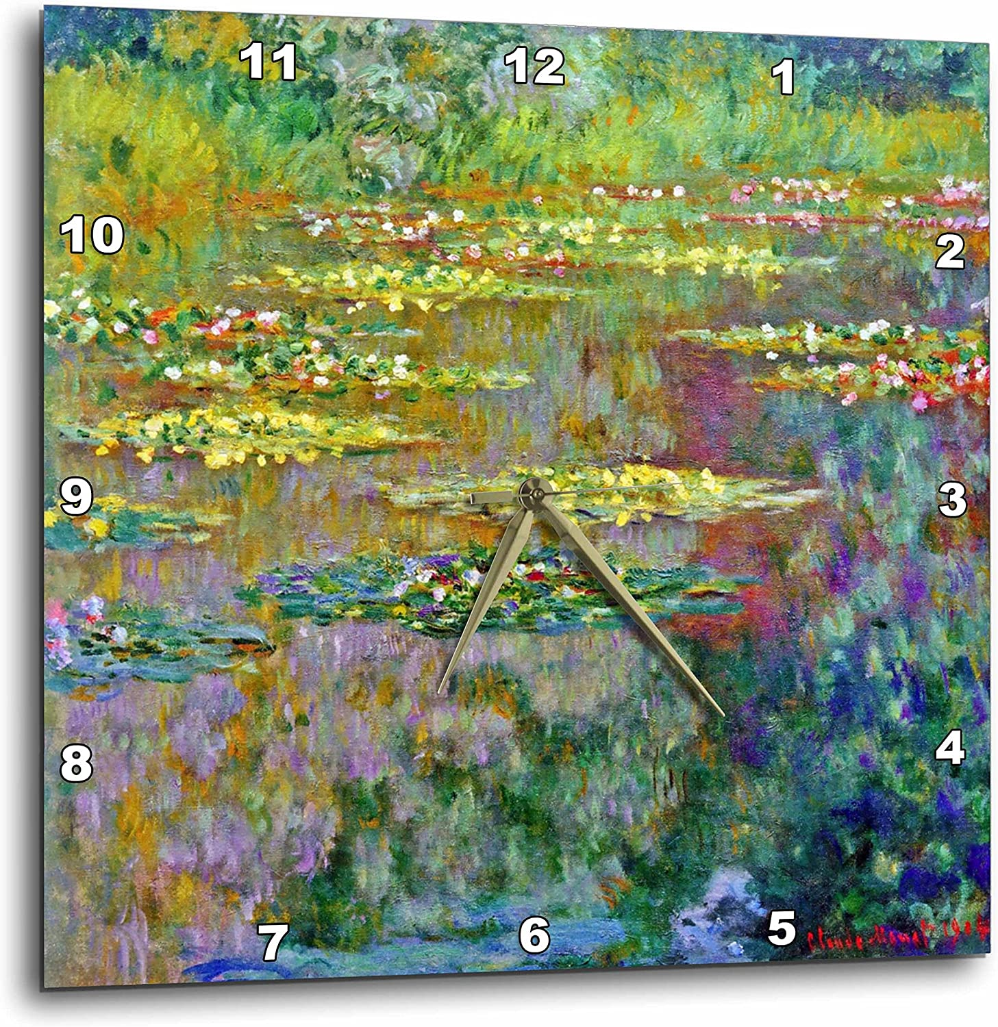 3dRose dpp_155656_3 Water Lilies by Impressionist Artist Claude Monet-Water Lilies on Lake Famous Nature Impressionism-Wall Clock, 15 by 15-Inch