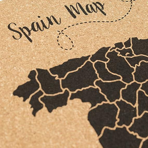 Decowood - Mapa de Corcho España, Grande, para Marcar Tus Viajes y Colgar en la Pared, Negro - 90x60cm: Amazon.es: Hogar