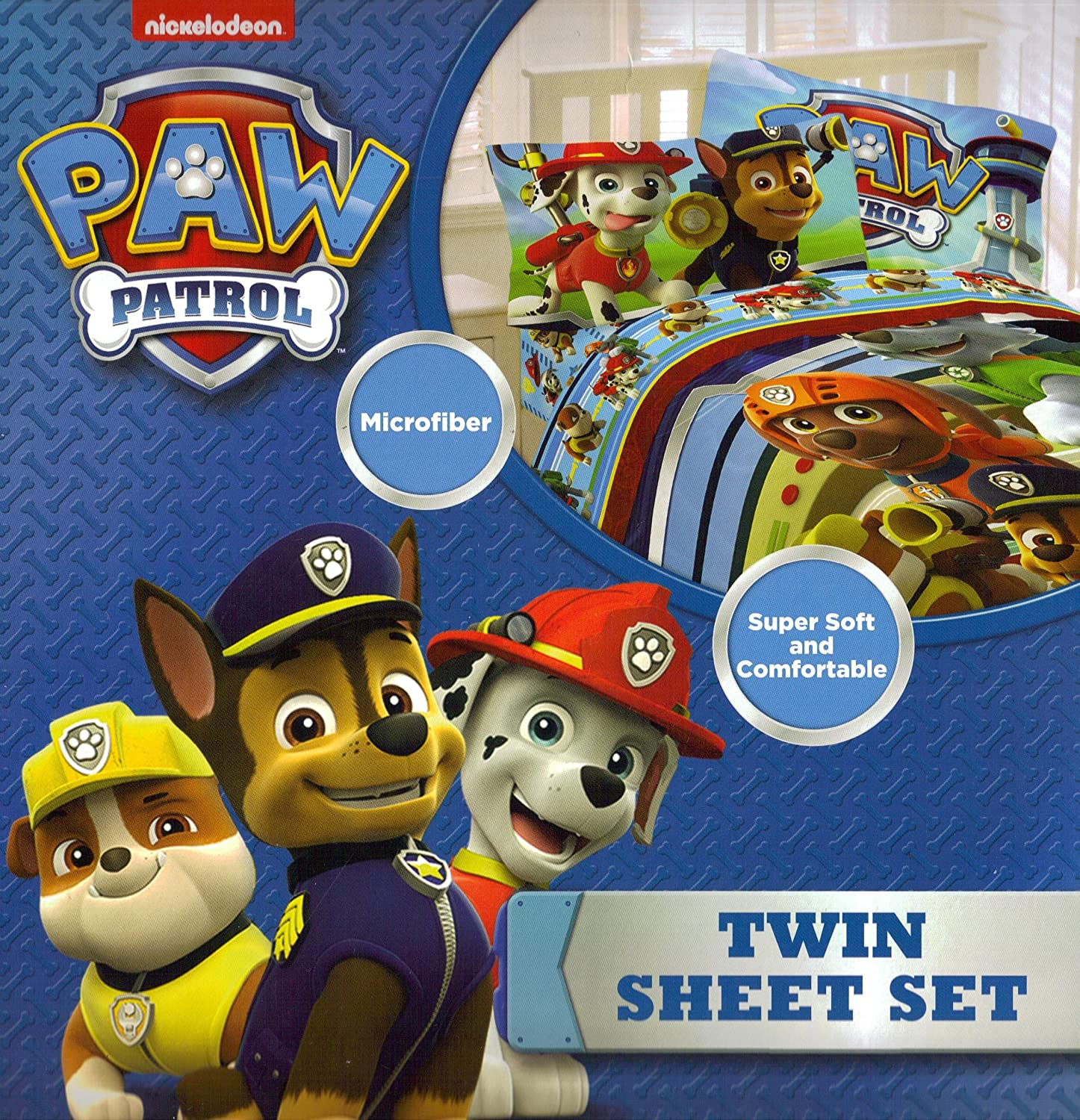 Nickelodeon Nick Jr  Paw Patrol 3pc Twin Sheet Set Bedding