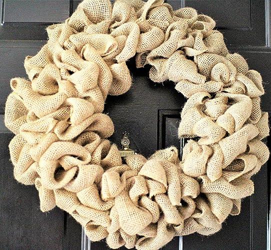 Genial 20 Inch Burlap Wreath , Wedding Wreath, Rustic Wreath , Outdoor Wreath ,Front  Door