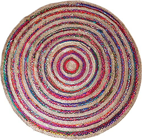 Braided Jute Cotton Rag Reversible Round Area Rug
