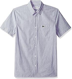 7deb1891de8cb Lacoste Men s Short Sleeve Seersucker Button Down Collar Reg Fit Woven Shirt
