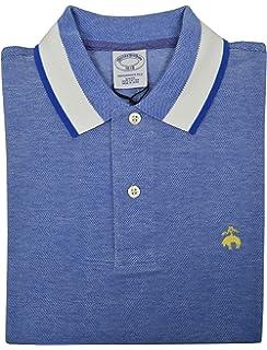33664da7f Brooks Brothers Men s Slim Fit Performance Contrast Collar Pique Polo Shirt  Light Blue