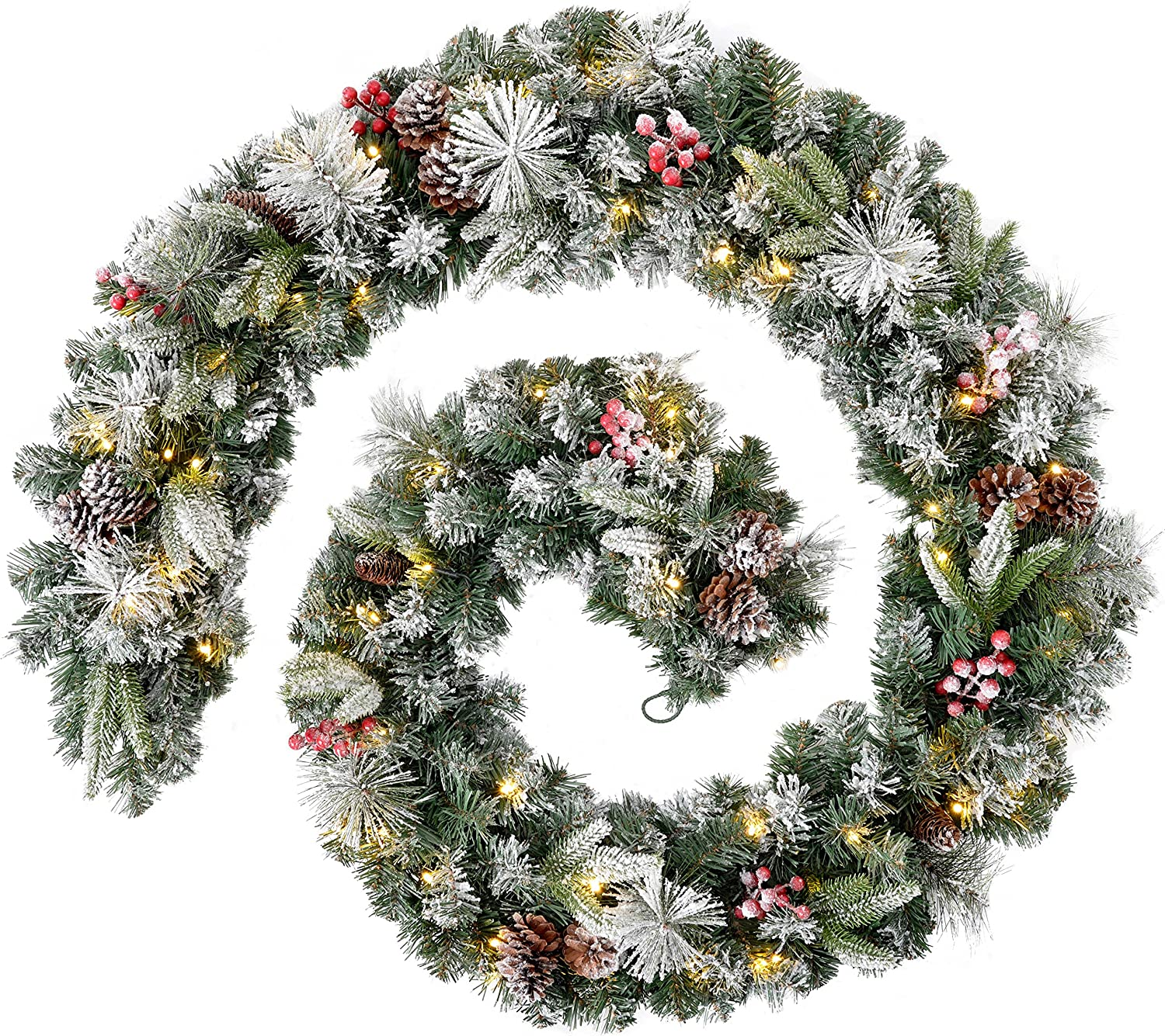 Snow Flocked WeRChristmas Extra Thick Pre-Lit Multi-Function Garland with 80 Warm LED Lights 9 feet