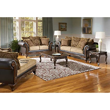 Roundhill Furniture San Antonio Traditional 2 Tone Sofa U0026 Loveseat,  Chocolate/Brown