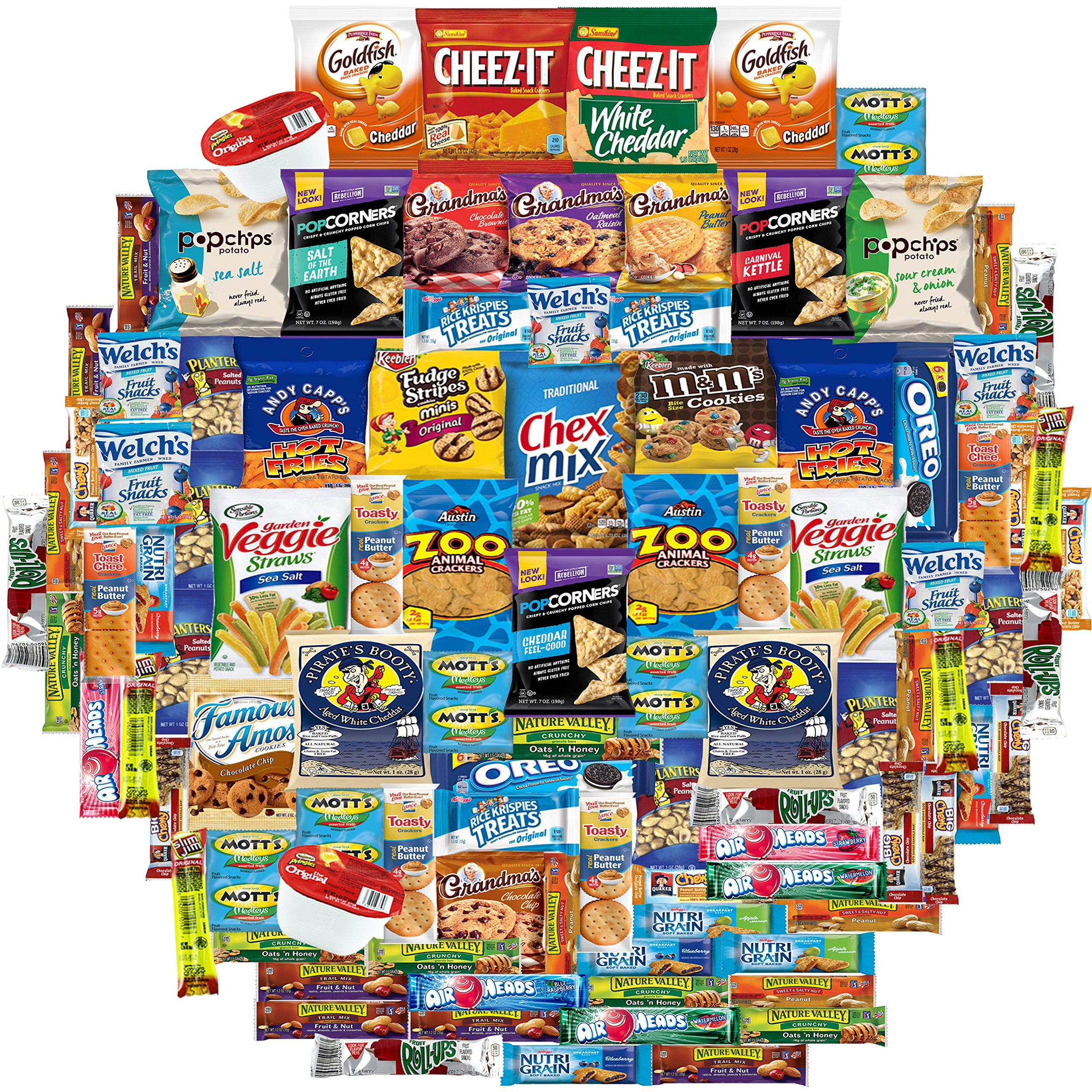 Snacks Gift Care Package (100 Count) College Students, Work/ Office, Home or Military Over 9 Pounds of Cookies Chips & Candy