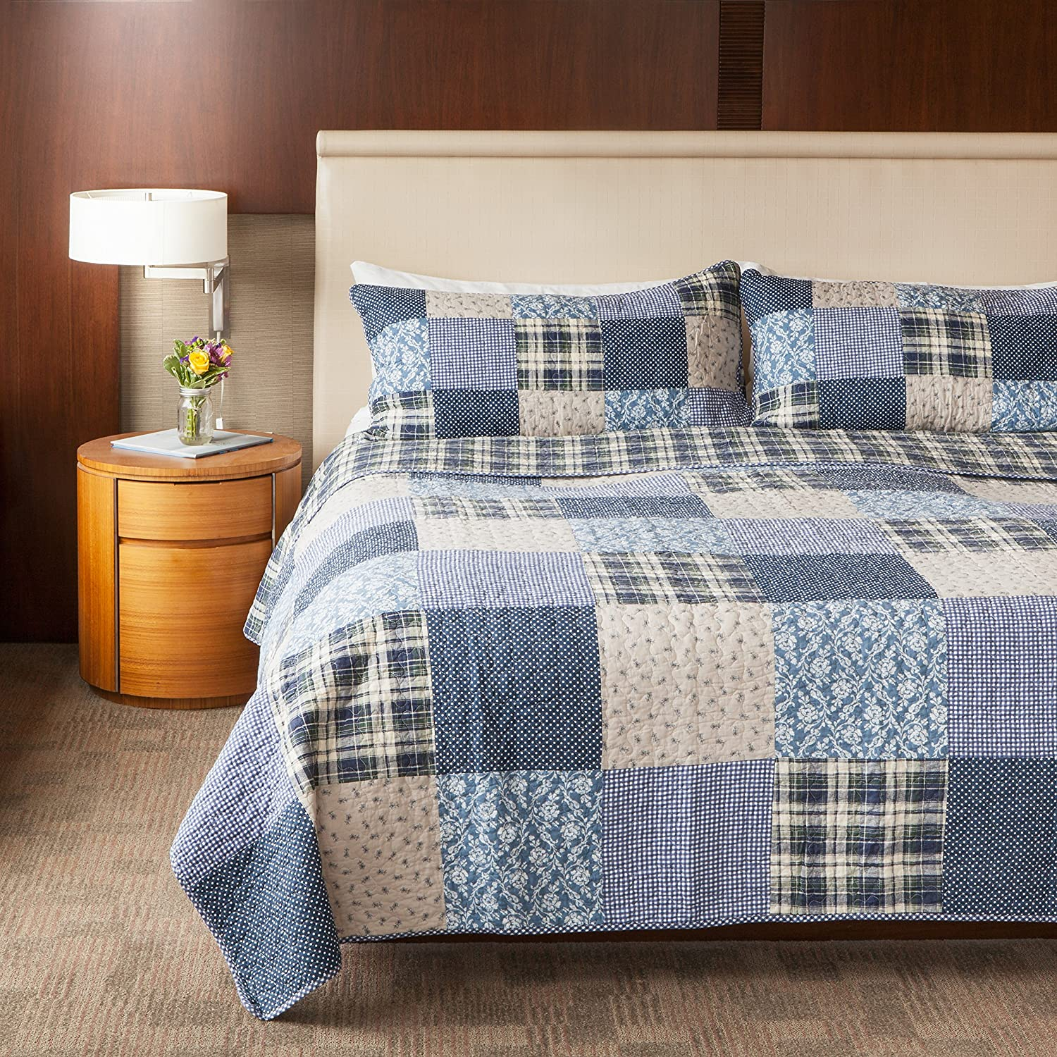 Slpr Blue Symphony 3 Piece Patchwork Cotton Bedding Quilt Set Queen With 2 Shams Country Quilted Bedspread Home Kitchen
