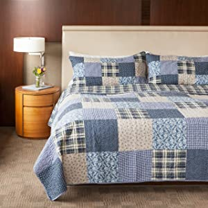 SLPR Blue Symphony 3-Piece Patchwork Cotton Bedding Quilt Set - Queen with 2 Shams   Country Quilted Bedspread