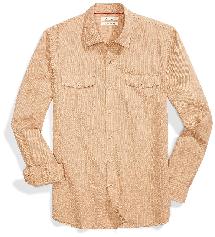 Goodthreads Mens Slim-Fit Long-Sleeve Ripstop Dobby Shirt Brand