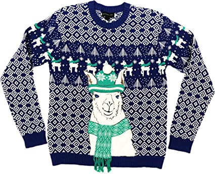 Amazon Com Blizzardbay Holiday Llama Wearing Embellished Scarf Hat Mens Blue Ugly Christmas Sweater Small Clothing