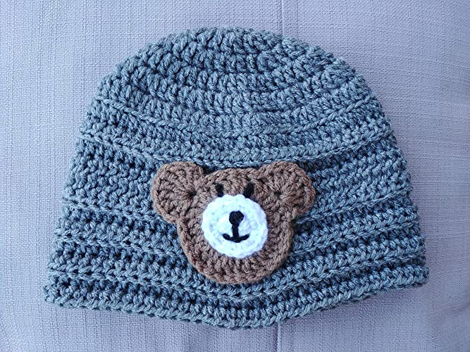 536098fc7 Amazon.com  Kids Hand Knit Winter Crochet Hat Heather Grey With Cafe ...