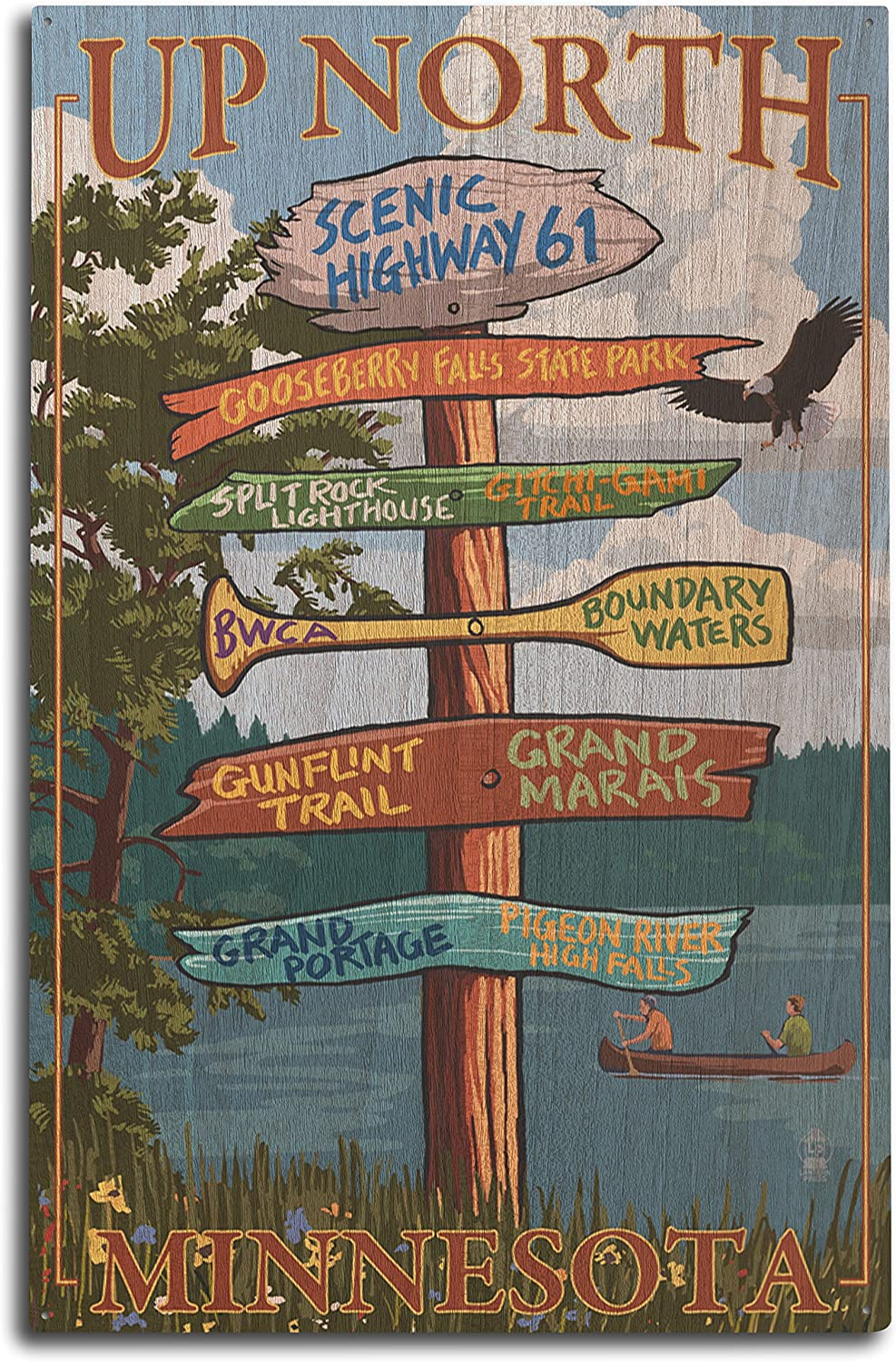 Lantern Press Gooseberry Falls, Minnesota - Destinations Sign (10x15 Wood Wall Sign, Wall Decor Ready to Hang)