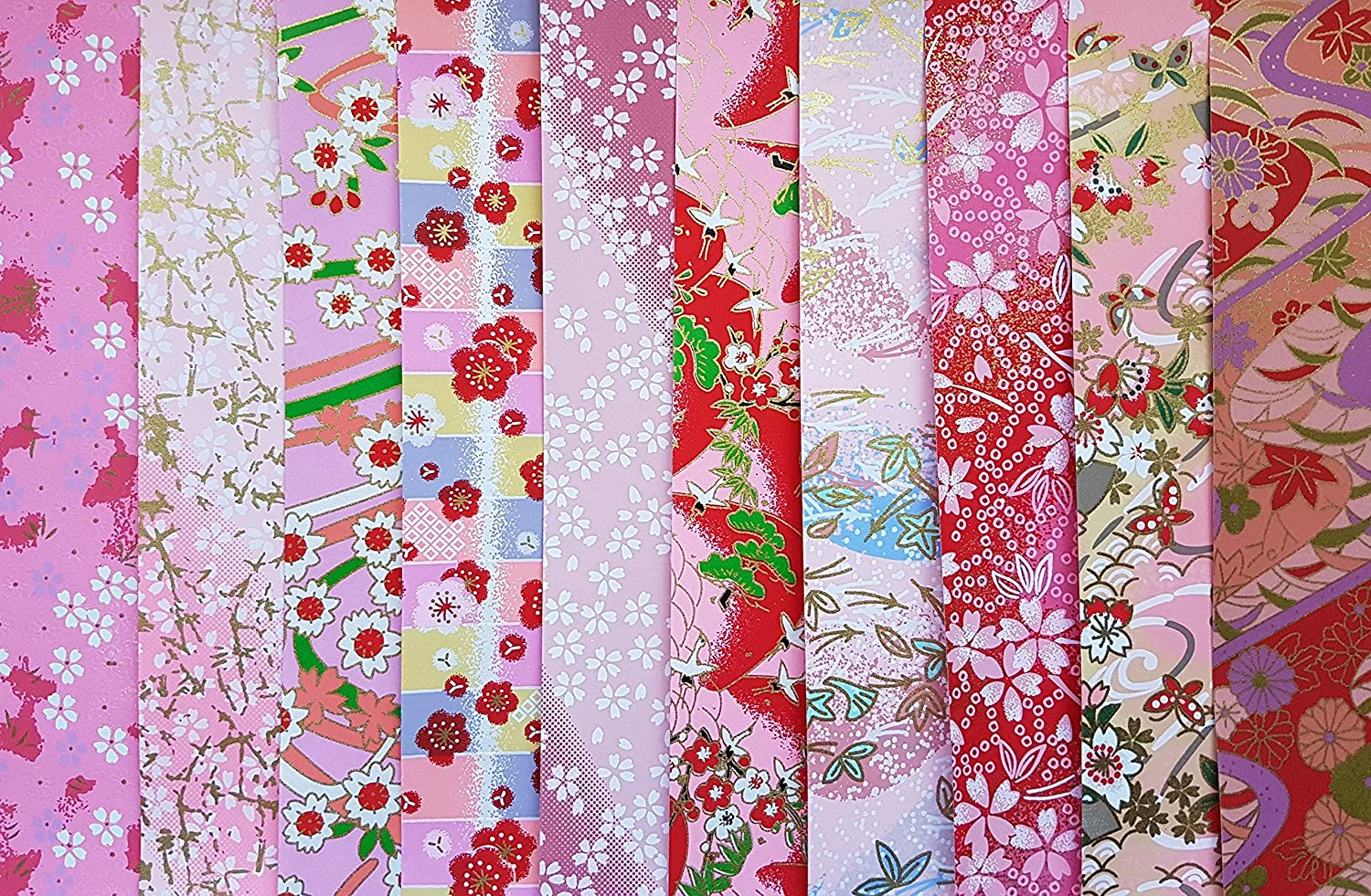 Chiyogami Flowers 10 Patterns TOYO Origami Paper 15x15cm