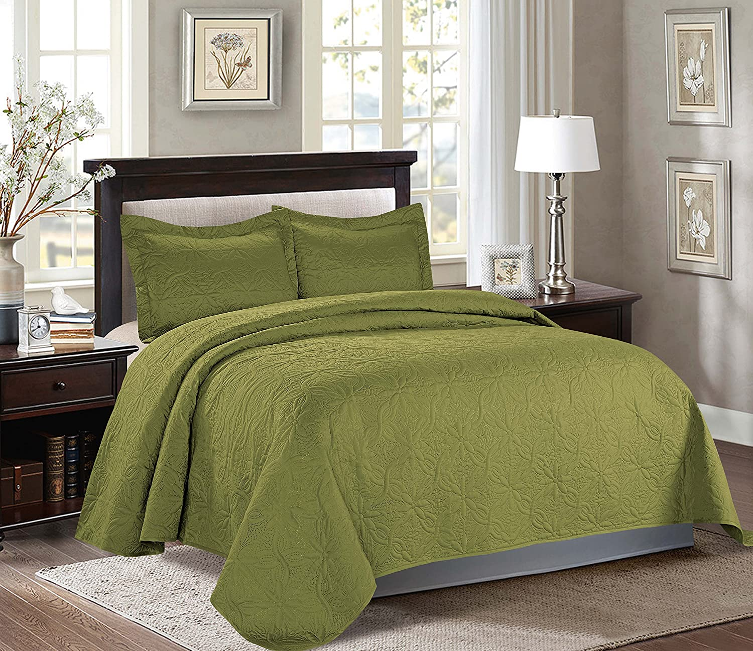 Maiija 3 Piece Embossed Floral Pattern Oversized Bedspread Coverlet King, Sage