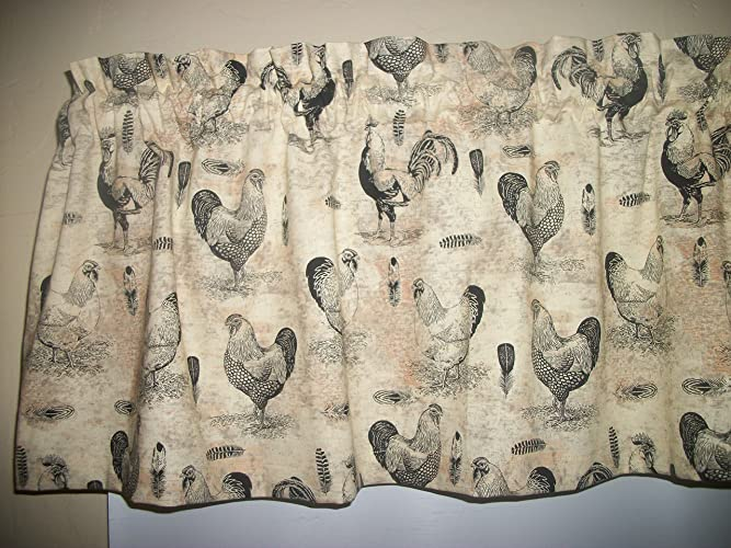 French Country Rooster Chicken Farm Kitchen Tan Fabric Curtain Topper Valance