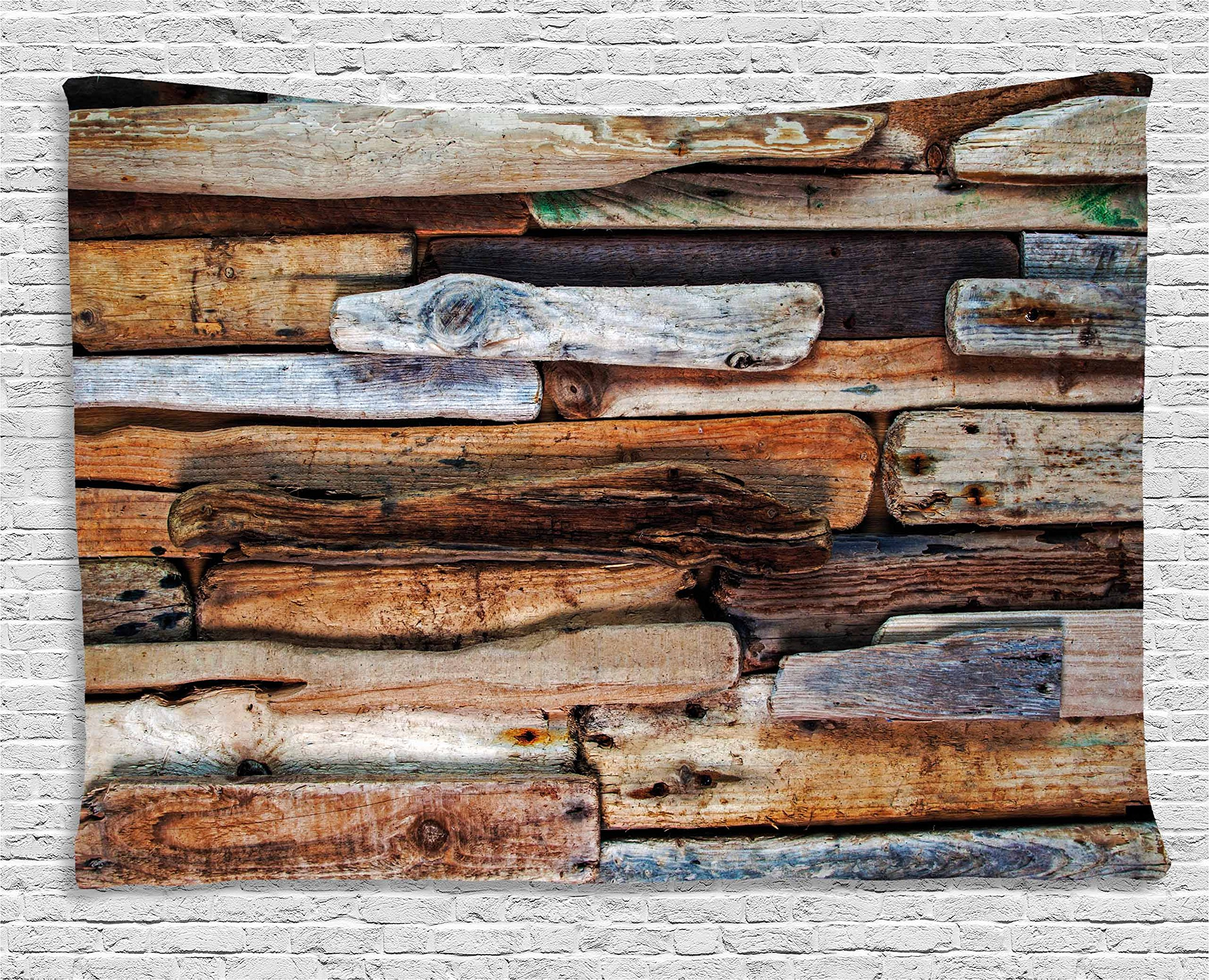 Ambesonne Driftwood Decor Tapestry, Wooden Theme Driftwood Knotty Planks Vintage Decorative Design Digital Image, Wall Hanging Bedroom Living Room Dorm, 80 W X 60 L inches, Brown