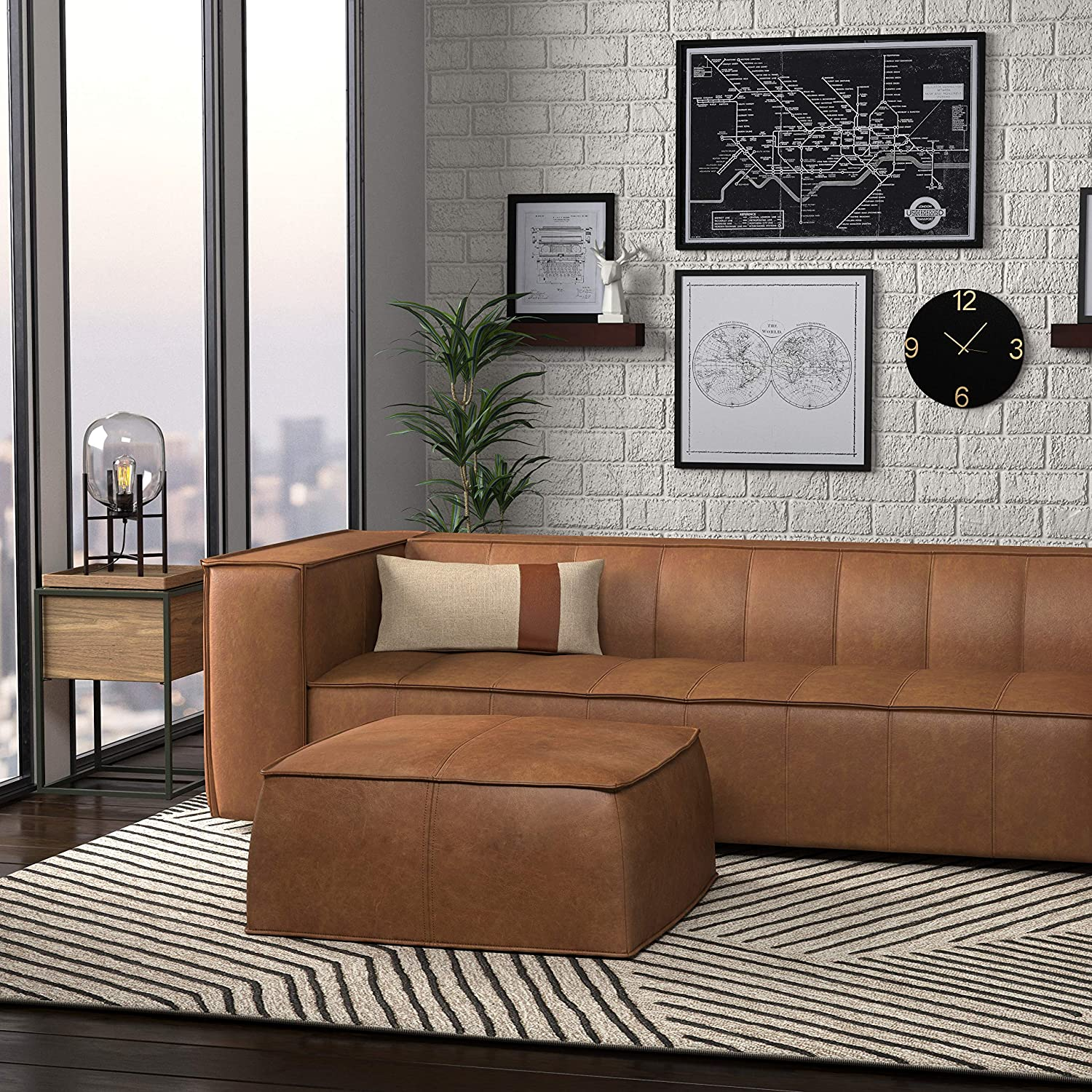 Terrific Details About Rivet Aiden Tufted Mid Century Modern Leather Bench Sectional Couch Sofa 74W Gmtry Best Dining Table And Chair Ideas Images Gmtryco