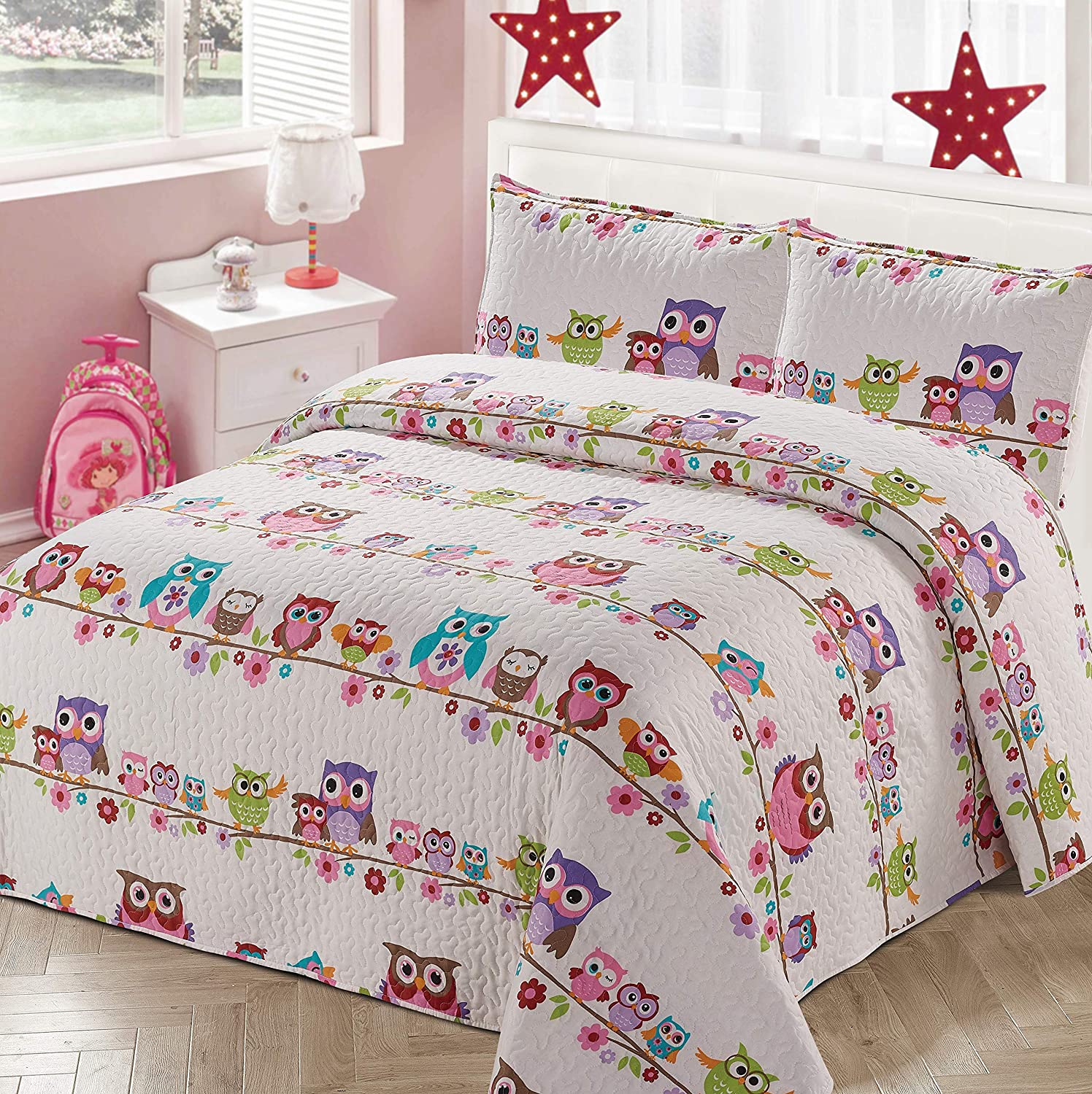 Better Home Style White Pink Purple and Turquoise Blue Kids/Teenage/Girls Coverlet Bedspread Quilt Set with Pillowcases Floral Night Owls on The Branch Imagery # 2018101 (Queen/Full)