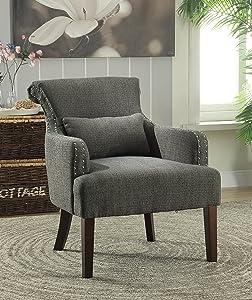 Furniture of America Venize Contemporary Style Accent Chair, Gray