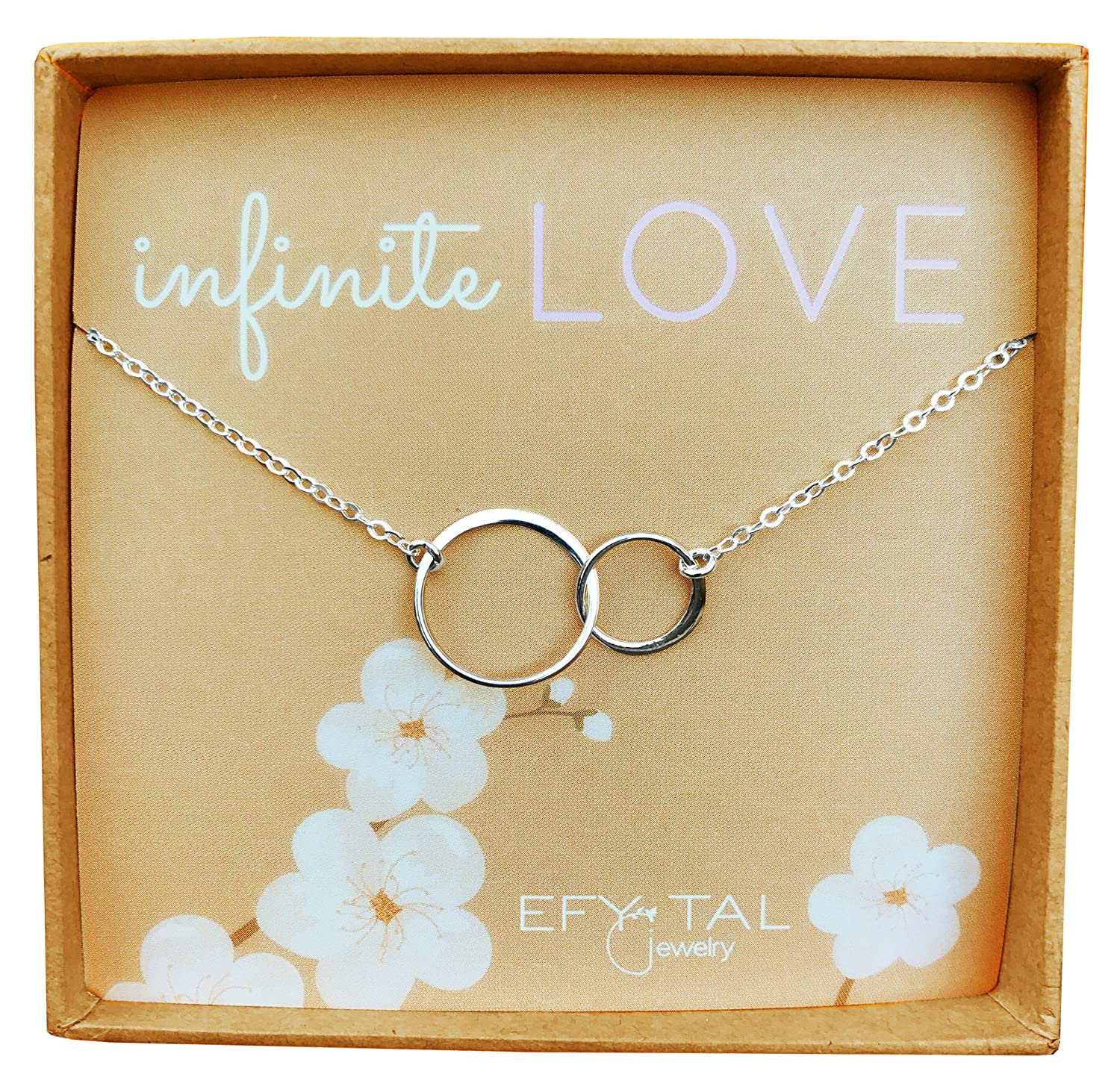 Sterling Silver 'Infinite Love' Necklace, Efy Tal Jewelry Interlocking Double Circles Anniversary Gift
