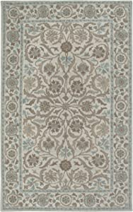 Rizzy Home Ashlyn Collection Wool Area Rug, 3' x 5', Ivory/blue
