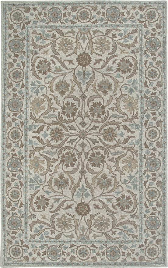Amazon Com Rizzy Home Ashlyn Collection Wool Area Rug 9 X 12 Ivory Blue Furniture Decor