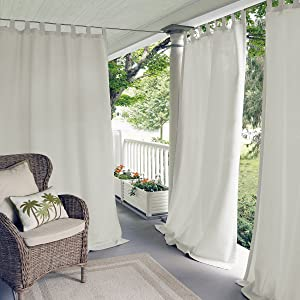 "Elrene Home Fashions Indoor/Outdoor Solid UV Protectant Tab Top Single Window Curtain Panel Drape for Patio, Pergola, Porch, Deck, Lanai, and Cabana Matine White 52""x84"" (1 Panel)"