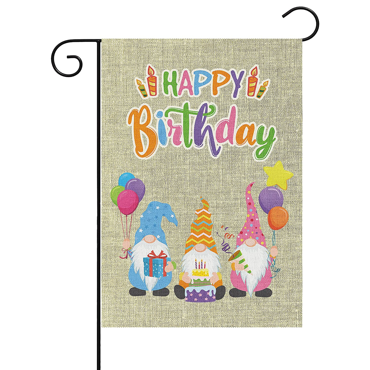 WATINC Happy Birthday Gnome Garden Flag Yard Sign Vertical Double Sided Readable Birthday Cake Gnome House Burlap Flag Banner Party Decorations Supplies for Indoor Outdoor Lawn 18.1x12.6 Inch