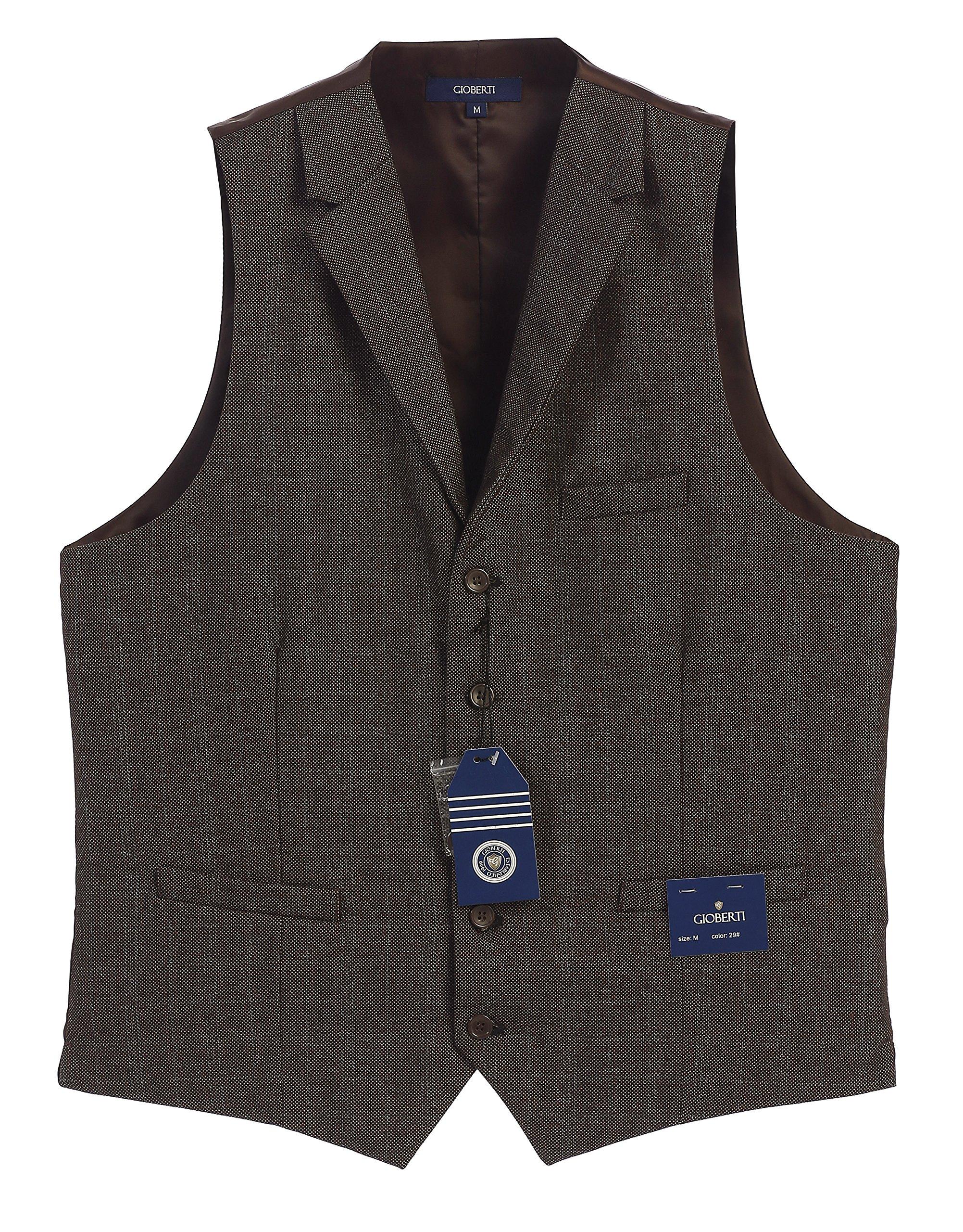 Gioberti Men's 5 Button Tailored Collar Formal Tweed Suit Vest, Brown Barleycorn, 2X Large