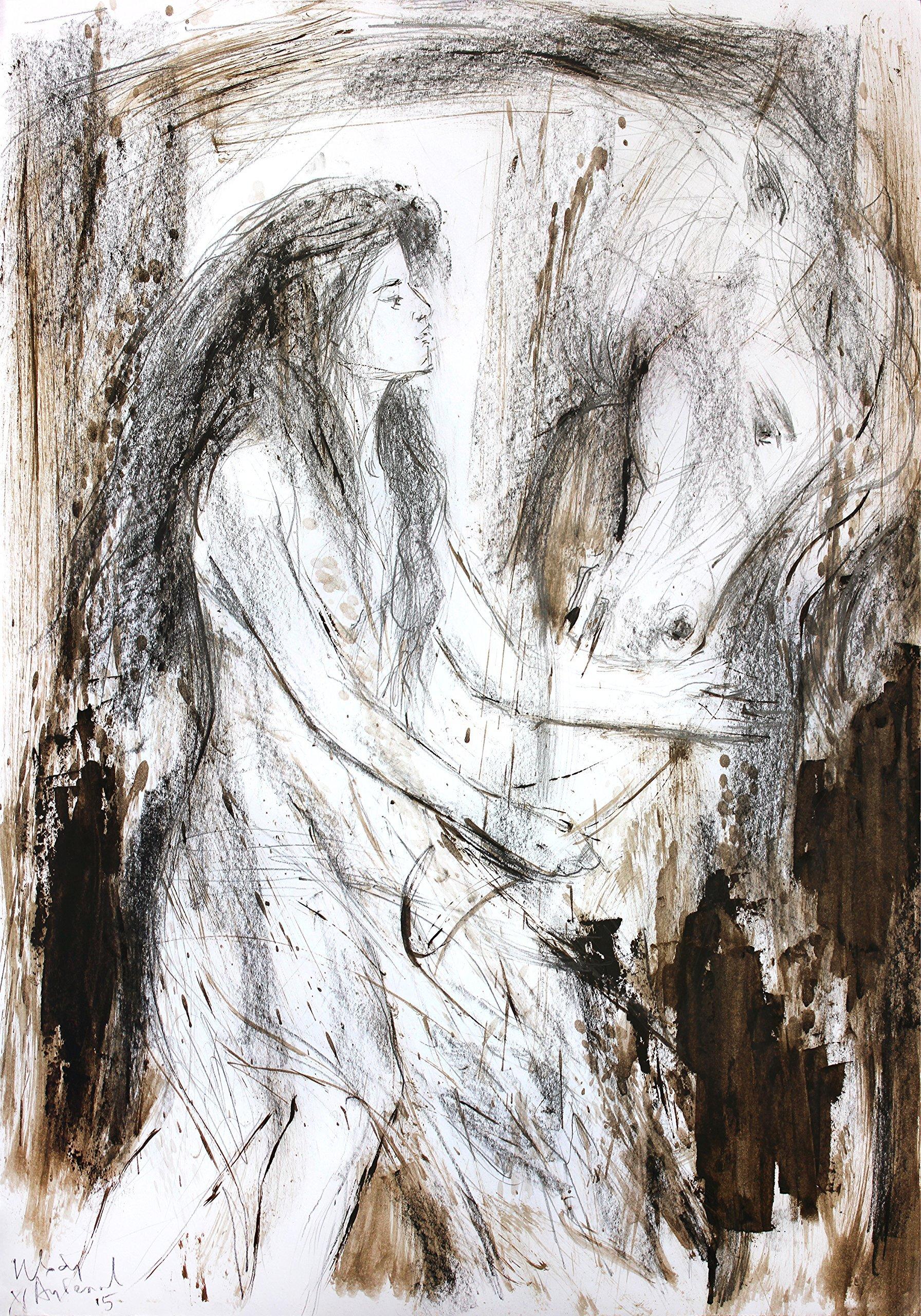 20 x 14 Original horse and girl Art Sketch Artistic wall art Modern drawing Animal art