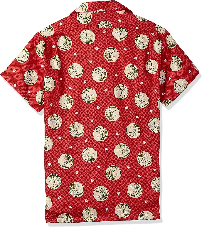 Naked /& Famous Denim Mens Alohashirt-Japanese Springtime Red