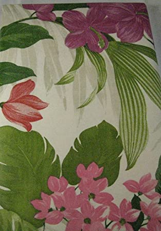 Flannel Back Vinyl Tablecloths Tropical Floral Print Assorted Sizes  Oblong  And Round By Elrene (