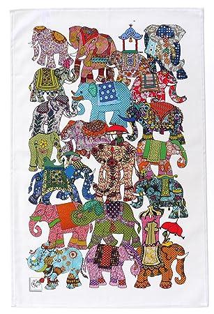 ELEFANTE PANO DE COCINA por MollyMac - Elefantes toalla - Vistoso toalla de cocina - Fabricado en Reino Unido - 100% algodón - 71 x 46 mm: Amazon.es: Hogar