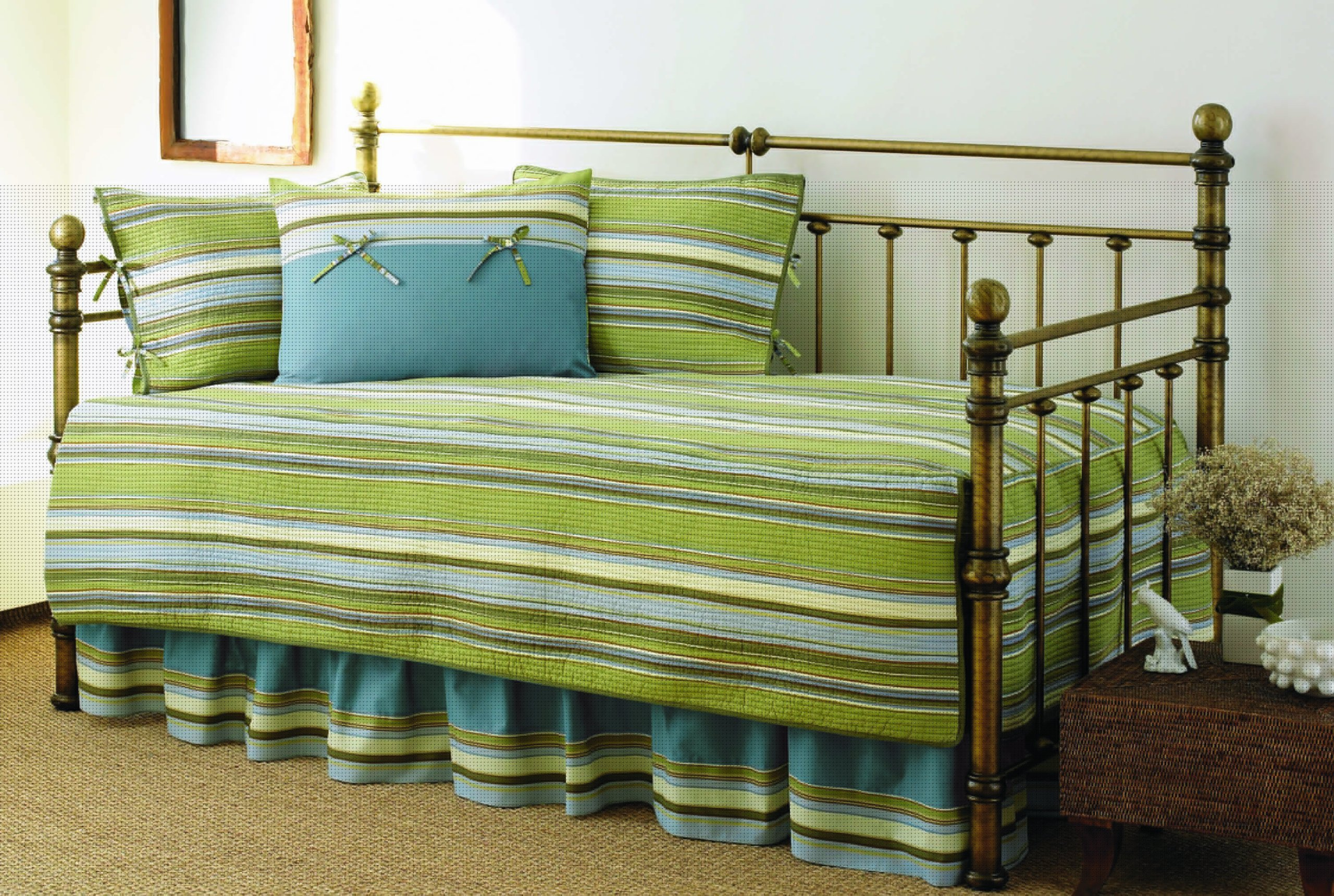 Stone Cottage 5-Piece Fresno Daybed Set, Green Stripe (Renewed)