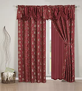 Elegant Home Beautiful Burgundy Window Embroidery Curtain Drapes All In One Set With Attached