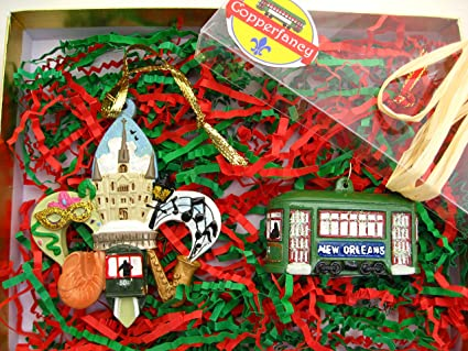 New Orleans Christmas Ornaments.Amazon Com New Orleans Christmas Ornament 2 Pc Box Set