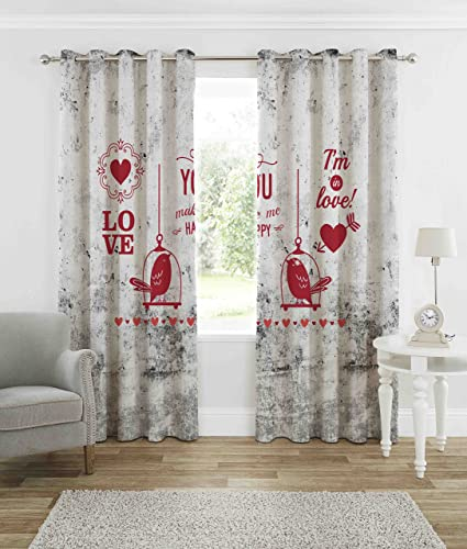 B7 Creations 2 Pieces Knitted Couple Digital Printed Curtain For Door 7 Feet