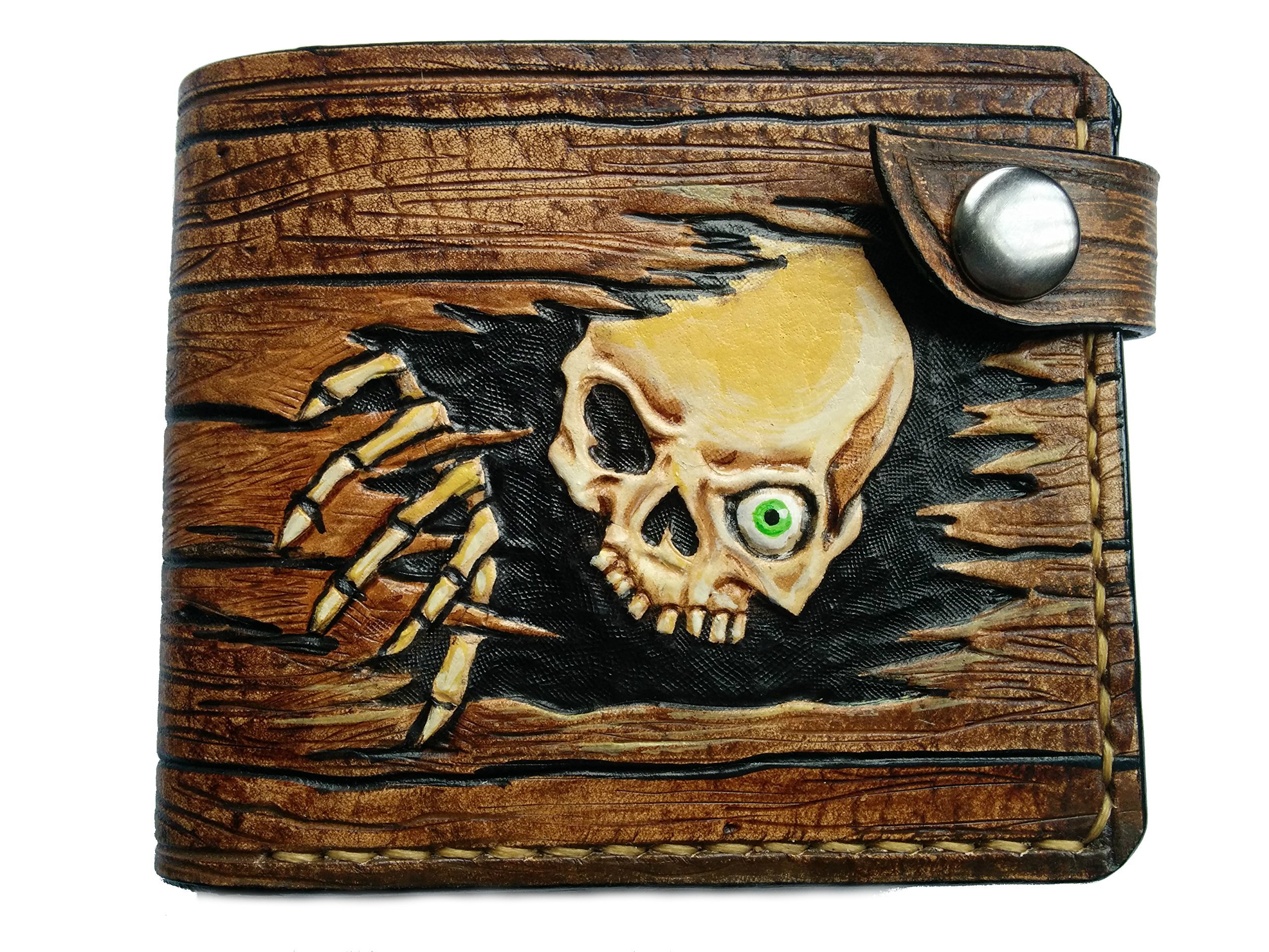 Men's 3D Genuine Leather Wallet, Hand-Carved, Hand-Painted, Leather Carving, Custom wallet, Personalized wallet, Skull wallet, Skeleton wallet