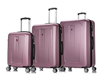 a5c317577329 DUKAP Luggage Crypto Lightweight Hardside 3 piece set 20''/28''/32'' Rose  Gold