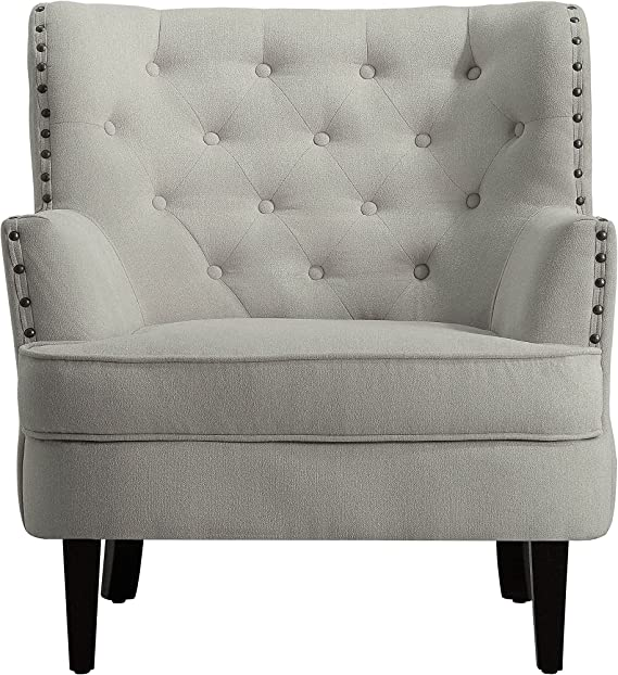 Amazon Com Millbury Home Chris Anna Tufted Upholstered Club Chair Beige Furniture Decor