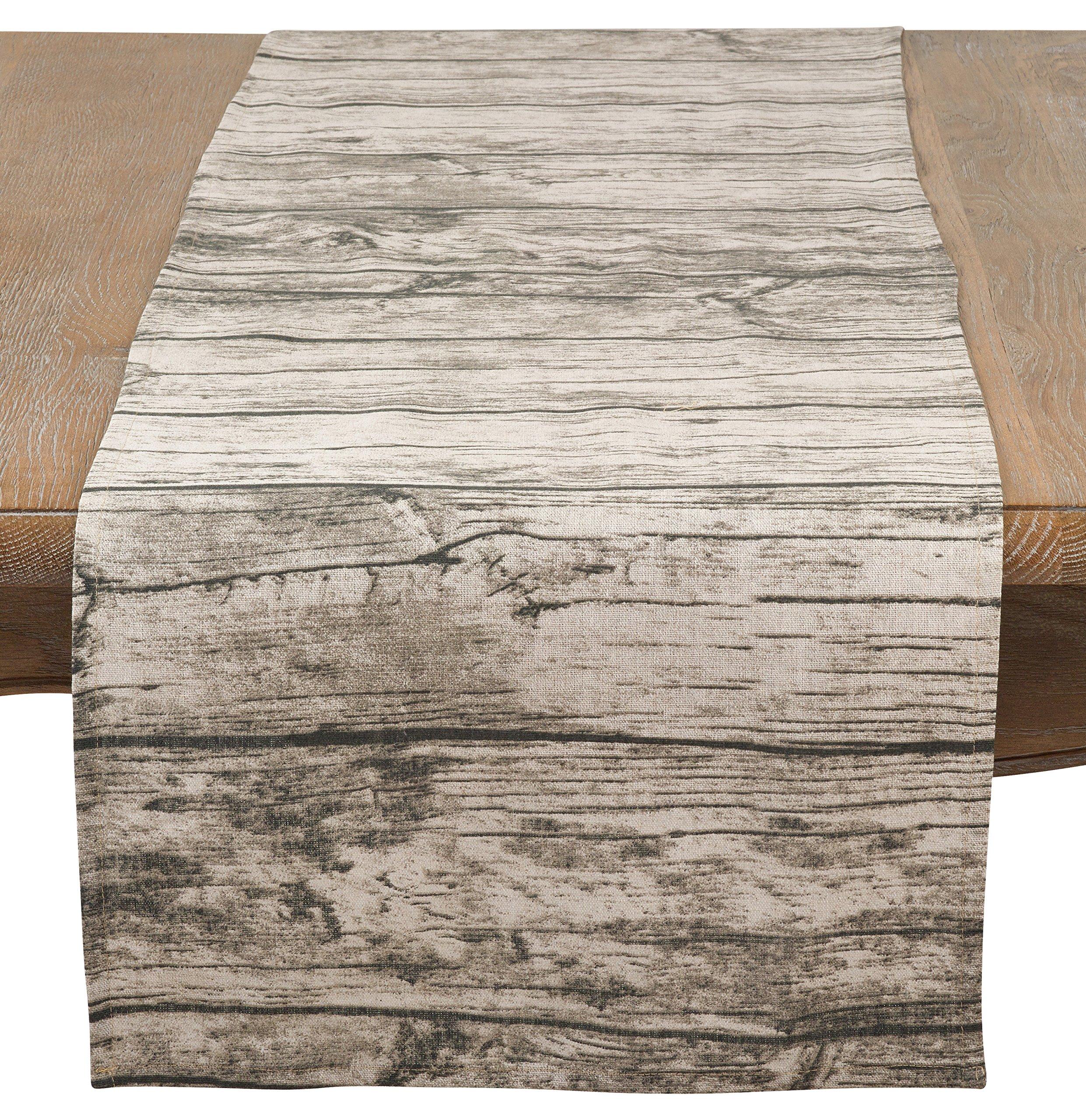 SARO LIFESTYLE Wood Plank Pattern Cotton Table Runner, 16'' x 72'', Natural