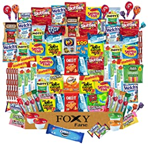 Foxy Fane 100 count Snack Box - Ultimate Gift Basket with Variety Assortment of Crackers, Cookies, Candy & Chips - Bulk Bundle of Delicious Treats for Kids, Teens & Children of all Ages [ 100 Snacks ]