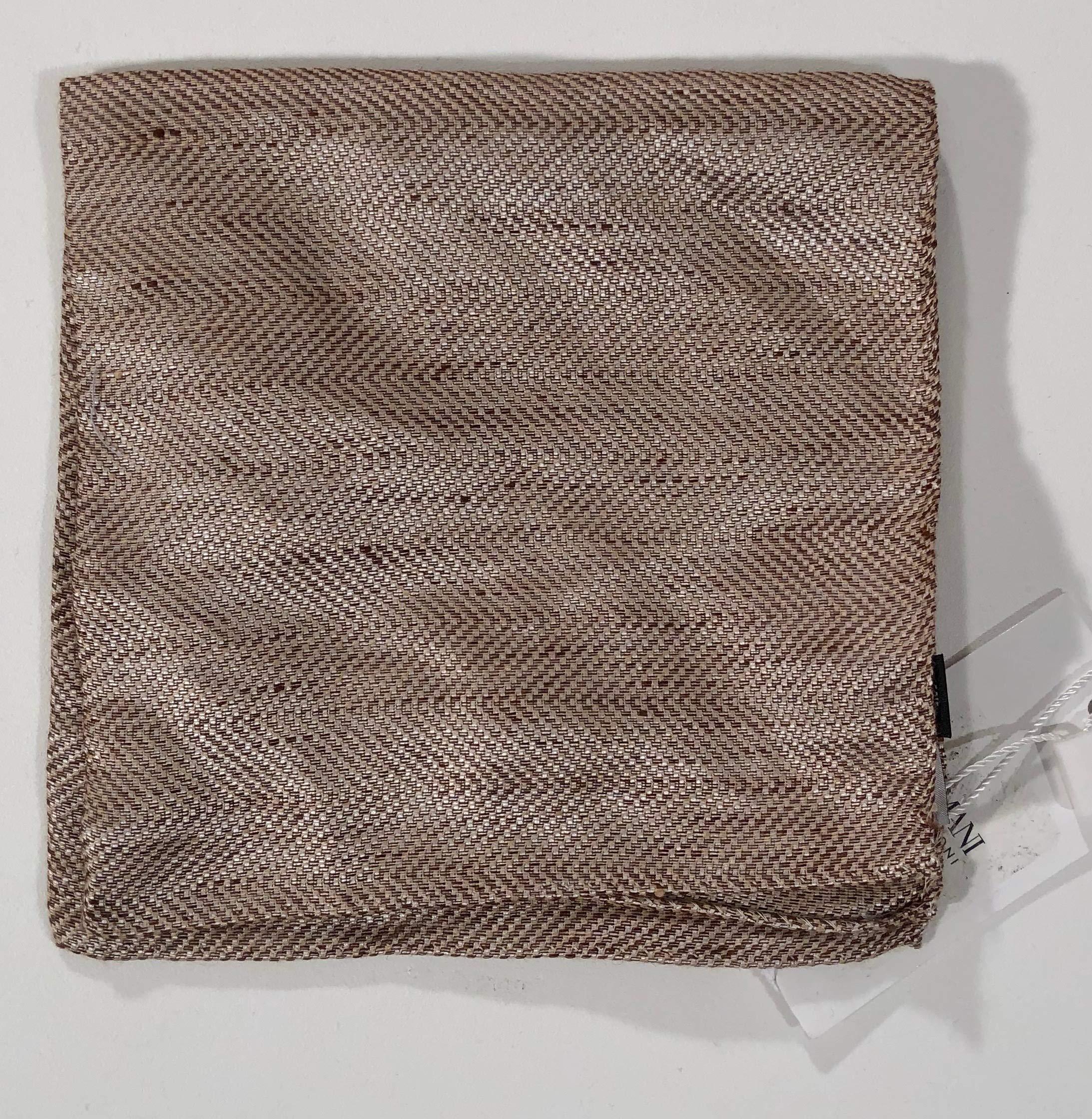 ARMANI COLLEZIONE MEN'S COCONUT BROWN HERRINGBONE LINEN/SILK POCKET SQUARE
