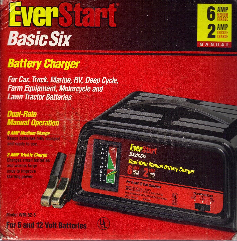 amazon com everstart wm 82 6 basic six battery charger automotive