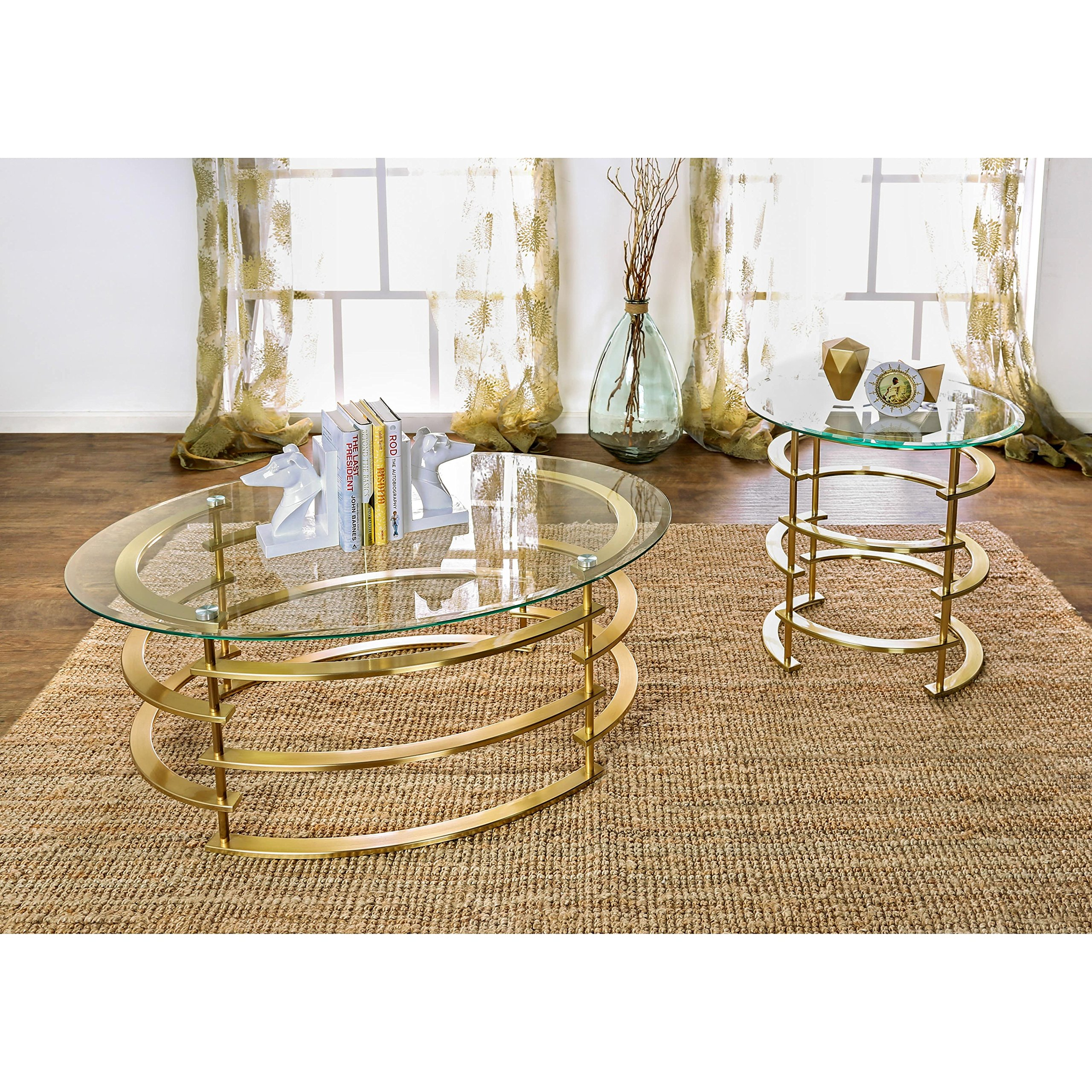 Furniture of America Odella Contemporary 2-piece Glam Glass Top Accent Table Set Gold Gold Finish