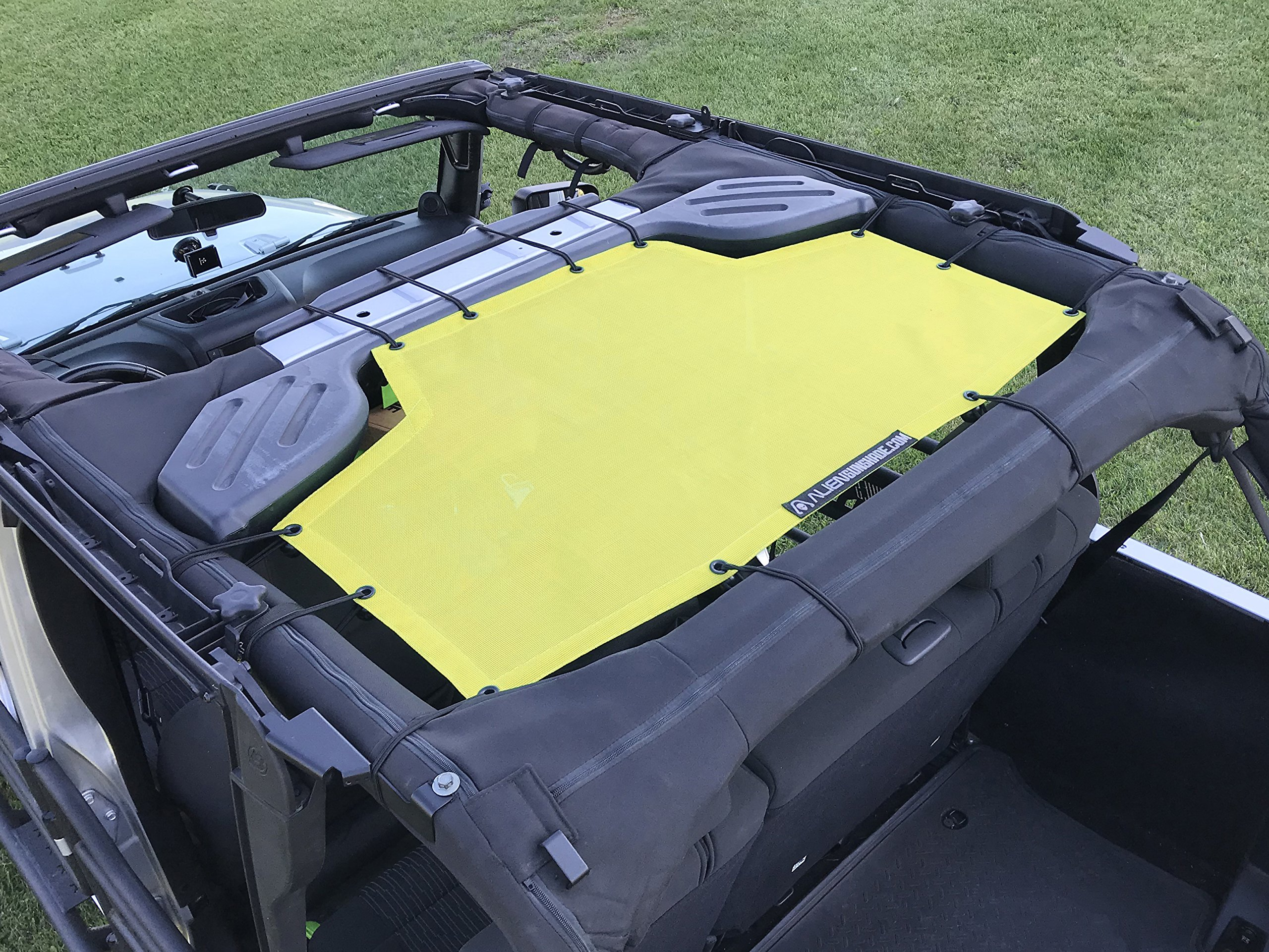 ALIEN SUNSHADE Jeep Wrangler Mesh Shade Top Cover with 10 Year Warranty Provides UV Protection for Rear Passengers 4-Door JKU (2007-2017) (Yellow)