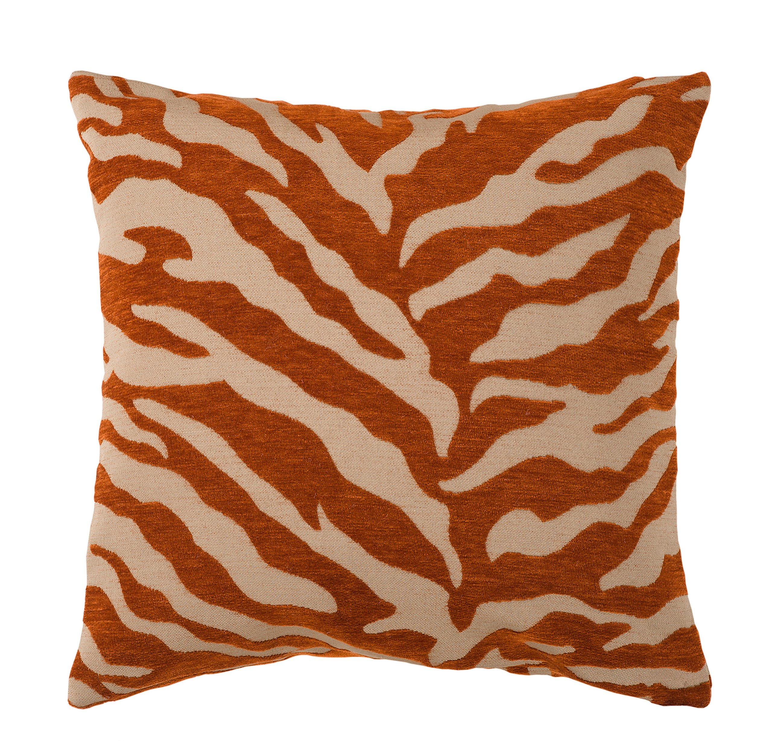 TL Orange Ivory Zebra Stripes Pattern Plush Square Throw Pillow 18-Inch, Beautiful Jungle, African Safari Wild Animal Textured Print Sofa Cushion, Poly Filled, Removable Cover, Bold Colors, Polyester