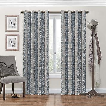 Eclipse Nadya Grommet Blackout Window Curtain Panel, 84 Inch, Smokey Blue,  Single