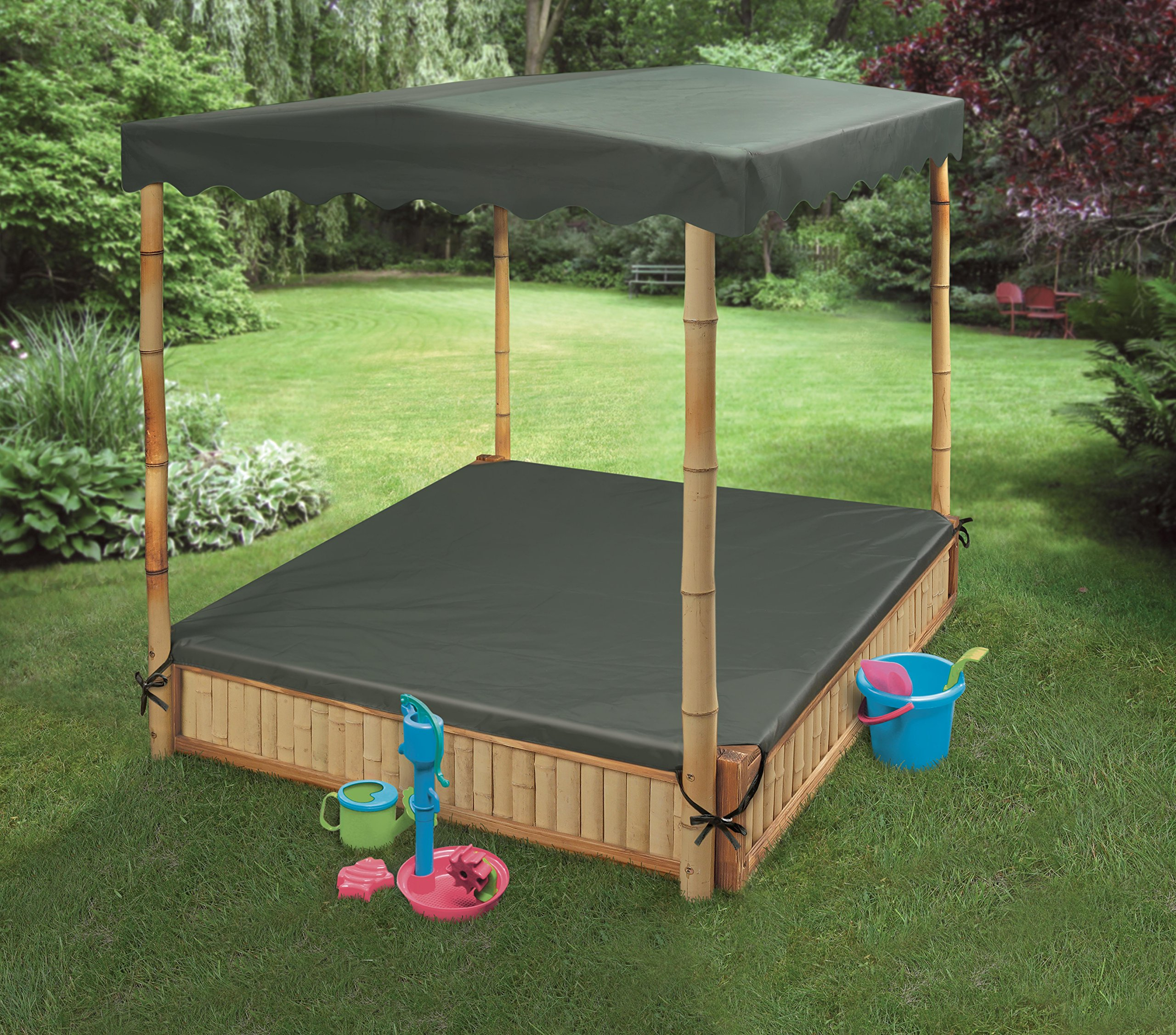 Badger Basket Tropical Fun Square Bamboo/Wood Outdoor Sandbox with Fabric Canopy/Cover and Seats, Natural/Green by Badger Basket (Image #3)
