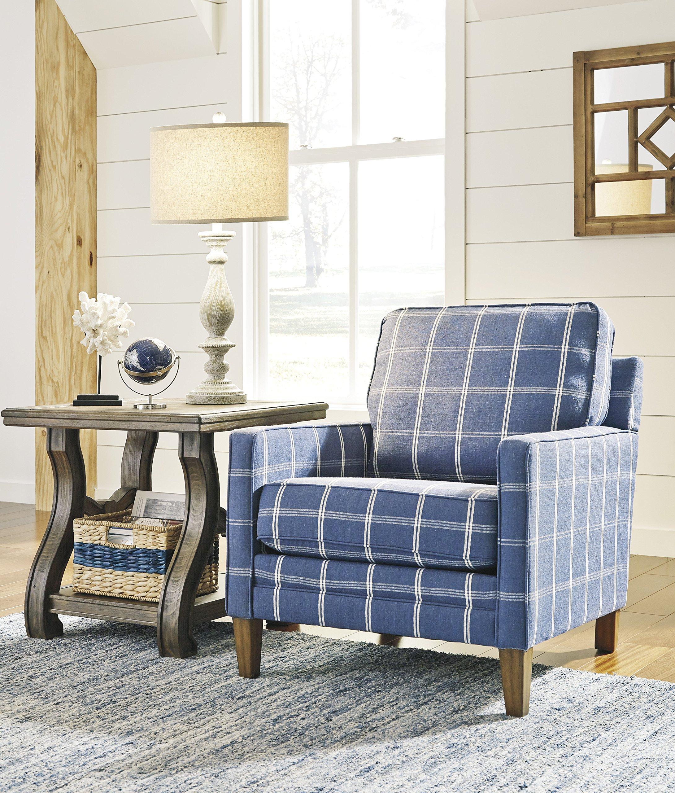Adderbury Blue and White Windowpane Plaid Print Accent Arm Chair